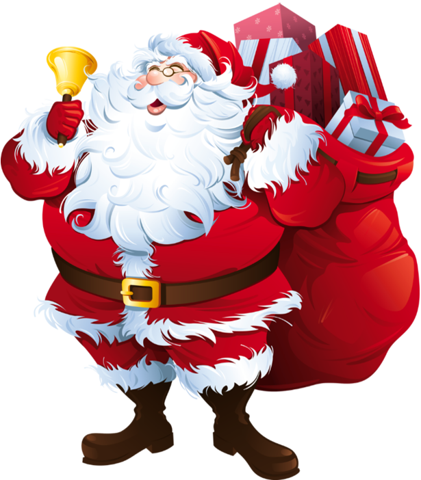 Transparent Santa Claus with Big Bag Clipart